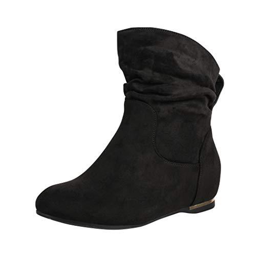 Elara Damen Stiefeletten Boots Keilabsatz Chunkyrayan C270 Schwarz-38