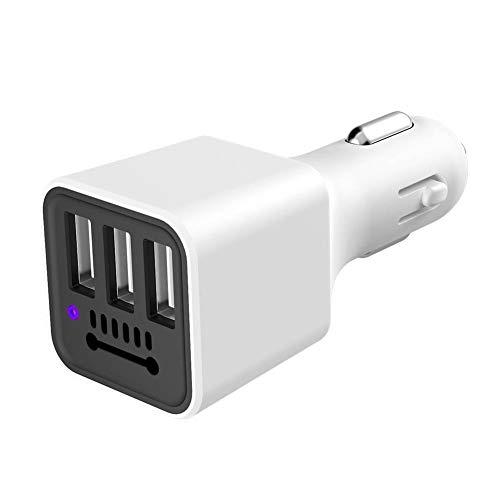 eamqrkt - Cargador de mechero de Coche con 3 Puertos USB, purificador de Aire, ionizador de Iones Negativos