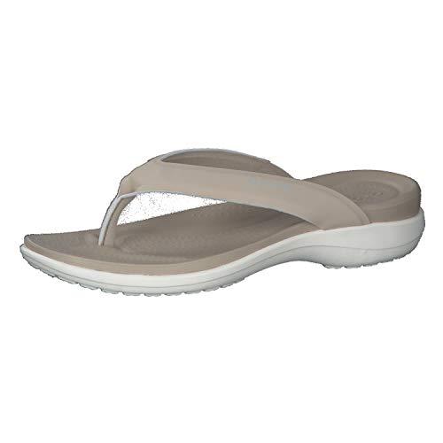 Crocs Mujer Capri V Sporty Flip, Cobblestone, 34-35