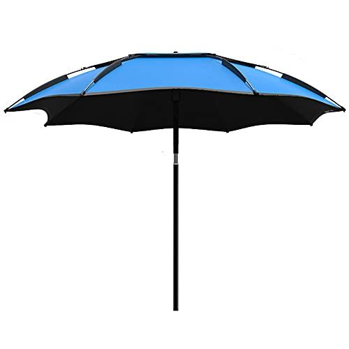 MANG Ombrellone da Spiaggia Grande Ombrellone da Esterno Antivento Protezione UV Ombrellone da Sole per Pesca, Campeggio, Picnic, Sabbia, Patio, Meccanismo di Inclinazione di Rotazione A 360 °