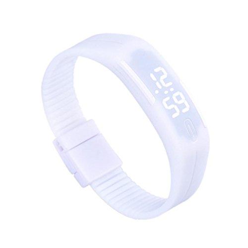 FAMILIZO Para Mujer para Hombre de Goma del Reloj LED Fecha Deportes Reloj Digital Pulsera (Blanco)