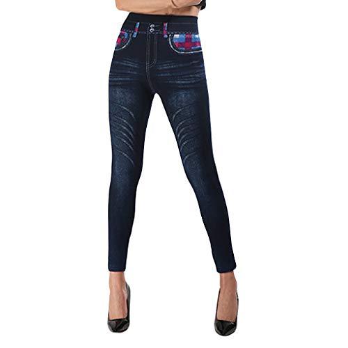 KUKICAT Damen Laufhose Sporthose Sport Leggings Tights Nachahmung Denim Tasche Karierte Leggings Hose Hüfte hoch elastische neun Hosen