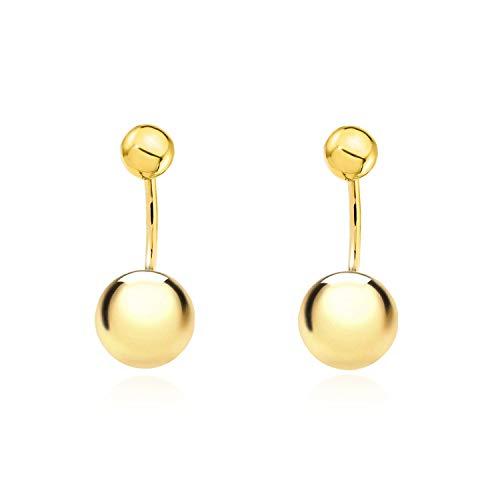 Pendientes Oro doble con bola 5 mm y 6 mm (9kts)