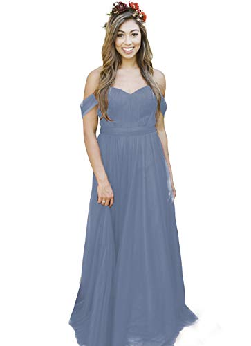 Lover Kiss Dusty Blue Wedding Bridesmaid Dresses Off The Shoulder 2018 Long Formal Dress for Women