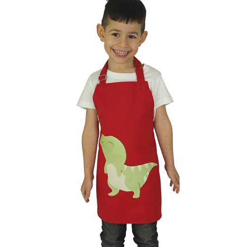 omaxxi Kochschürze für Kinder Dino Kinderschürze für Jungen Mädchen Schürze Kinder Kochschürze aus Baumwolle Kinderkochschürze Jungen Mädchen Dinosaurier (Dino)