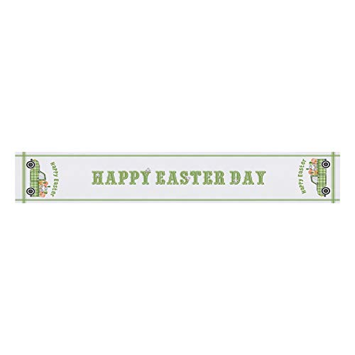 Moent Happy Easter Table Runner,Creative Table Flag Polyester Cotton Gnome Bunny Eggs Printed Tablecloth,Festival Party Dining Table Home Decoration (MulticolorD)