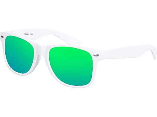 Balinco Nerd Sonnenbrille UV400 CAT 3 CE Rubber - gummiert im Retro Stil Vintage Unisex Brille mit Federscharnier für Damen & Herren (weiß - grün)