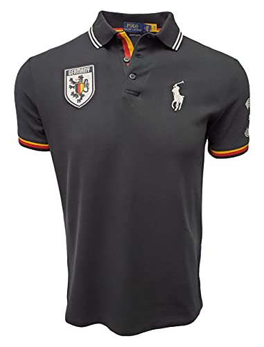 Ralph Lauren Polo Mens Custom Slim Fit Country Polo- Spring 2019 (Large, Germany Black)
