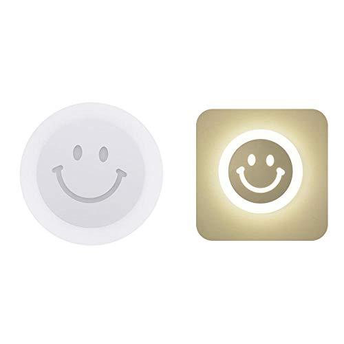 Lámpara de pared LED redonda con sonrisa, pasillo, sala de estar, dormitorio, decoración, lámpara de pared para cabecera, iluminación interior para el hogar, accesorios de iluminac