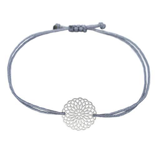 Filigranes Armband Silber - Graues Textil Armband mit silberfarbenem Mandala - Blume - handmade Schmuck Damen Frauen Mädchen Inkl. Geschenk Verpackung (Silber - Grau)