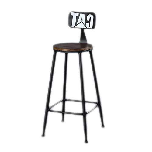 Taburete de bar GCX moderno, minimalista, de madera maciza, mesa de hierro forjado y silla alta duradera Wood Negro