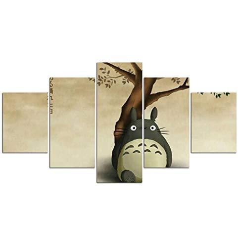 LCCWLH Leinwanddrucke 5 Panel Miyazaki Hayao Tonari Keine Totoro Bilder Leinwand Movie Poster Dekoration (Größe A) Kein Rahmen