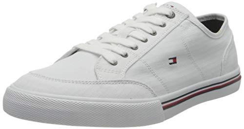Tommy Hilfiger Core Corporate Textile Sneaker, Zapatillas Hombre, Blanco (White), 42 EU