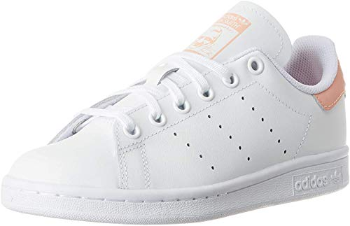 adidas Stan Smith J, Scarpe da Ginnastica Unisex-Bambini, Ftwr White/Ftwr White/Glow Pink, 38 EU