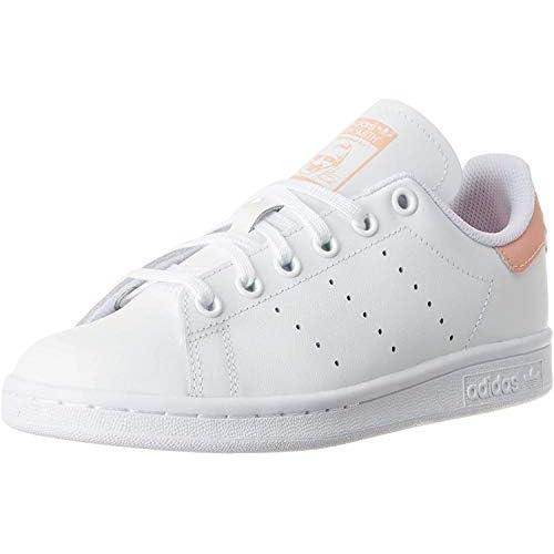 adidas Stan Smith J, Scarpe da Ginnastica Unisex-Adulto, Ftwr White/Ftwr White/Glow Pink, 38 2/3 EU