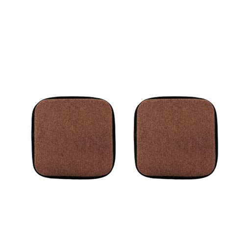 F Fityle 2Pieces Square 35cm Cotton Brown Office Home Chair Cushion Dining Chair Pads with Gripper Backing