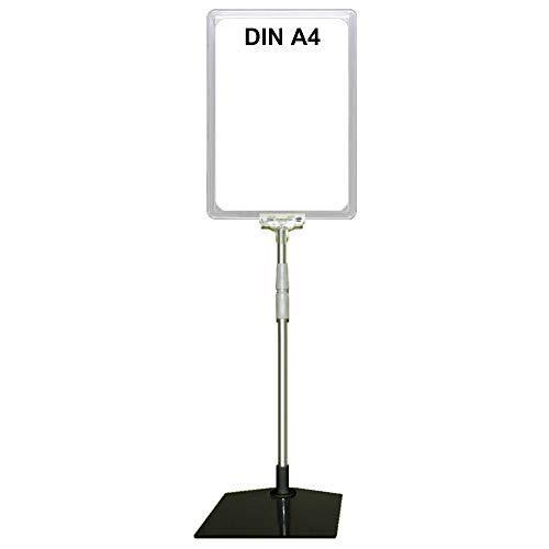Plakatständer DIN A4 Rahmen transparent, Teleskopständer höhenverstellbar bis 580 mm mit Teleskoprohr ALU Kunststoff, Fuß eckig 160x192 mm Stahl schwarz, Kundenstopper, Aufsteller