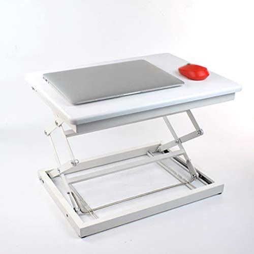 YJFENG Stehpult Mit Gasfeder Stand Up, Riser Workstation, Höhenverstellbar X-förmige Struktur Rechteckige Basis, Für Sitzendes Personal, Laptop (Color : White, Size : 50x37x11-50cm)