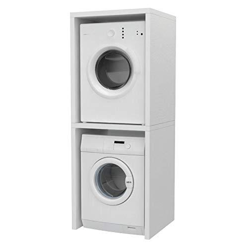 Ve.Ca. Mobile colonna Coprilavatrice, in legno, copri lavatrice/asciugatrice, diversi colori, anche su misura, lavanderia arredo bagno (Bianco frassinato)