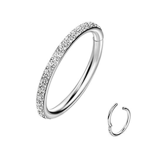 16G Hoop Nose Ring Helix Piercing Jewelry Daith Piercing Jewelry Helix Jewelry Cartilage Earrings Hoop Surgical Steel Nose Hoop 6mm Hoop Stainless Steel Clear CZ Rook Snug Tragus Anti-Tragus Earrings