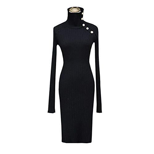 Vestidos De Fiesta Vestir Dress Mujer Niña Vestido Negro De Punto para Mujer Cuello Alto De Manga Larga Cintura Alta Vestidos Ajustados Ajustados Moda Femenina Nueva Ropa-Black_M