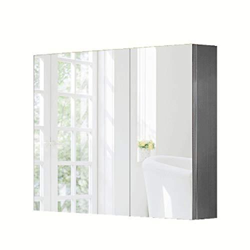 Spiegelschränke Zweitürige Edelstahl Spiegelschrank Badezimmerspiegelschrank Badezimmerspiegelkasten mit LED-Leuchten wasserdicht und feuchtigkeitsfest (Color : Weiß, Size : 80 * 13 * 70cm)