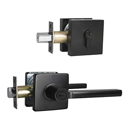 KNOBWELL 3 Pack Keyed Alike Heavy Duty Exterior Keyed Entrance Handleset with Double Keyed Square Deadbolt and Door Lever, Matte Black Finish, All Same Keys