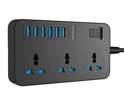 Regleta Enchufe con USB, Alargador Enchufe Múltiple Base 6 USB 3 Tomacorrientes Europe 3000W 250V 16A, 2M Cable de Alimentación (Negro)