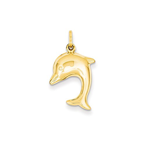 Black Bow Jewelry 14k Yellow Gold 3D Hollow Dolphin Pendant