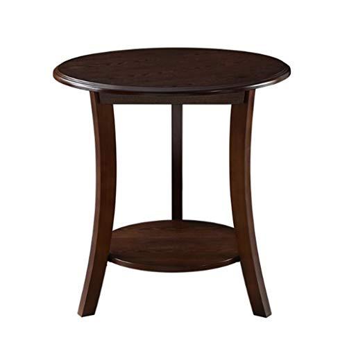 JSJYP - Mesa redonda de madera de 2 niveles para sofá de 2 niveles, patas de madera maciza con estante de almacenamiento, redonda - mesa de cóctel de nogal negro