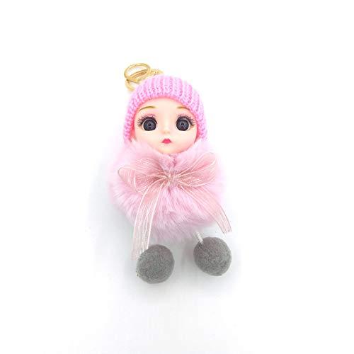 Giftik Llavero de piel sintética de conejo, 19 cm, diseño de pompón, lindo ojo grande para mujeres y niñas, bolso de mano, llavero de coche