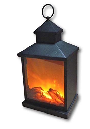 UrbanDesign Metalen LED-lantaarn met kunstmatige vuur vlam rook houtblokken decoratieve haardvuur lamp op batterijen 3 LED's met timer