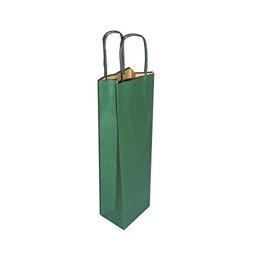 PZ 10 Enveloppe Porte Bouteilles vert avec cordon (1 bouteille) Shoppers Green Etui en Papier cadeau (vin 75 cl)