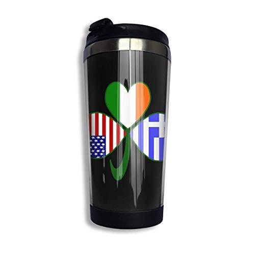 Taza de café con trébol griego irlandés usa con tapa para té, café, viaje, vaso, taza de acero inoxidable, 400 Ml