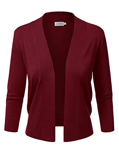 JJ Perfection Women's Basic 3/4 Sleeve Open Front Cropped Cardigan Burgundy 2X Plus Size