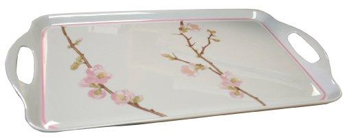 Corelle Coordinates by Reston Lloyd Melamine Rectangular Serving Tray with Handles, Cherry Blossom