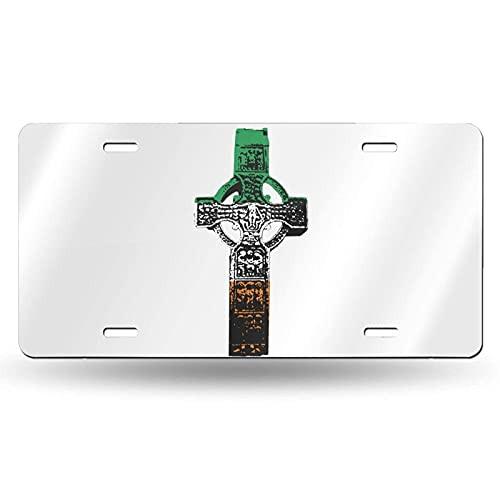 Irish Flag Celtic Cross License Plate Decorative Car Front License Plate Vanity Tag Metal Car Plate,Aluminum Novelty License Plate for Car 6x12 Inch