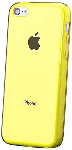 iCues | Compatible with Apple iPhone 5C | Transparent TPU Case Yellow | [Screen Protector Included] Clear Rubber Cover Crystal Transparent Silicone Shell TPU Minimalist