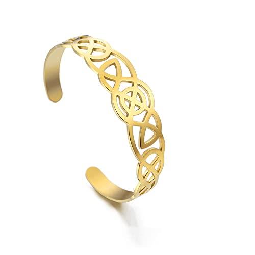 YITIANTIAN Vintage de Acero Inoxidable Celtics Nudo brazaletes Recorte Color Oro Ajustable Hombres Mujeres Pareja Brazalete joyería Regalo