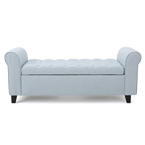 """Christopher Knight Home Keiko Charlemagne Contemporary Rolled Arm Fabric Storage Ottoman Bench, Dimensions: 19.50""""D x 50.00""""W x 19.25""""H, Light Sky"""