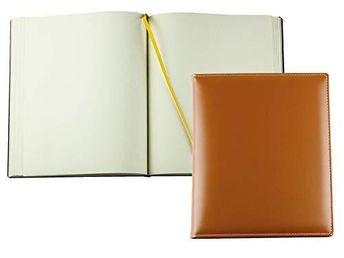 DELMON VARONE - Personalisierbares Gästebuch gebunden in Premium Cambridge Leder braun - Blanko...