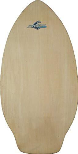 Surf Quest Oldschool Skimboard 108 cm mit Kicktail Raw Wood - Profi Skimboard