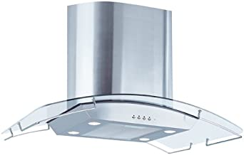 Air King IBIZ36GL 36-Inch Ibiza Chimney Style Island Mount Range Hood with Glass Canopy, Stainless Steel