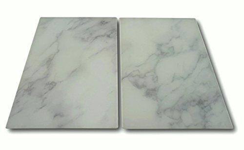 2 cubiertas de cristal para cubrir la vitrocerámica, diseño de mármol, color blanco