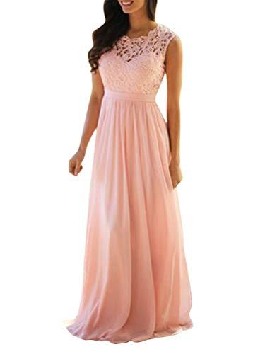 Minetom Rosa Spitze Plissee Rückenfreies Ärmellos Elegante Maxikleid Für Hochzeitsgäste Abendkleid A Rosa 48