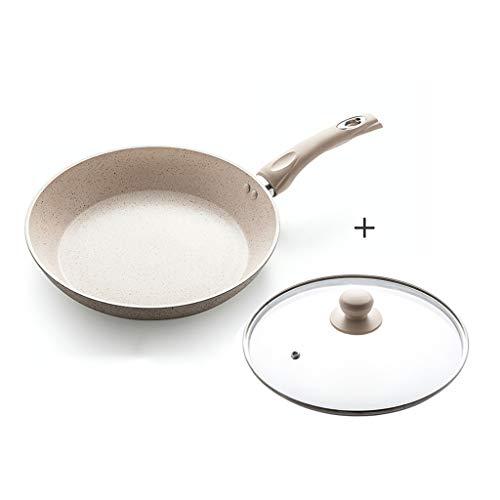 Pierre de blé Poêle antiadhésive Poêle à frire avec couvercle en verre Complément alimentaire Accueil Pot avec revêtement en pierre non toxique Compatible avec induction Oeuf au bœuf (taille : 24cm)