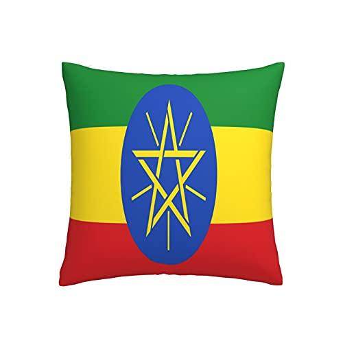 Kissenbezug mit Flagge von Äthiopien, quadratisch, dekorativer Kissenbezug für Sofa, Couch, Zuhause, Schlafzimmer, für drinnen & draußen, 45,7 x 45,7 cm