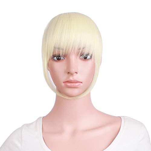 MapofBeauty 7 Inch/18cm Mode Valse Pony Netjes Franje Haarstukje Clip in Accessoires Voor Haarextensies (Licht Blond)