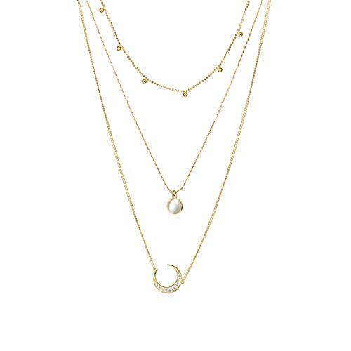 Layered Necklace Gold Plated Station Chain Rhinestone Pendant Valentine's Day Couples Special Gifts Gold Moon Dainty Choker Sweater Necklace for Women