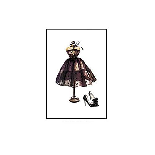 Cuadros Decorativos Cartel de Maquillaje de Moda Estampado Bolsa de Perfume Zapatos de Leopardo Pintura de Lienzo Cuadros de Arte de Moda Sala de Estar decoración de Dormitorio de niñas sin Marco